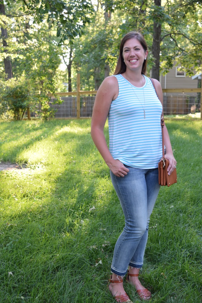 Teal striped tank